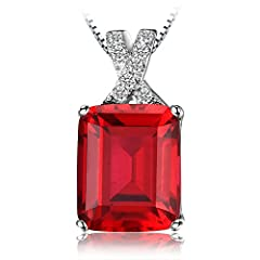 Idea Regalo - JewelryPalace Smeraldo Taglio 6.1ct Sintetico Rosso Rubino Collana del Pendente 925 Argento Sterlina 45cm
