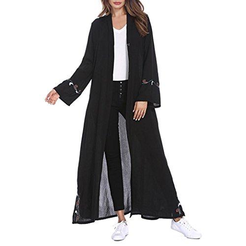 Amphia Elegant Frau Streifen Bescheiden Lange Abaya Kleider Voller Ärmel Muslime Kleidung Kaftan Stil Abaya Dresses (Schwarz, M)