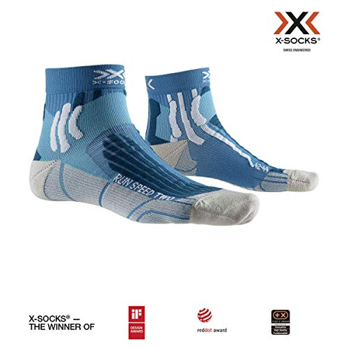 X-Socks Run Speed Two Socks, Teal Blue/Pearl Grey, 42-44 -