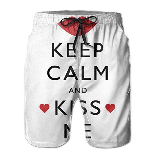 Für Männer Strand Shorts Badehose, Küssen Sie Mich Plakat-Entwurf mit roten Herzen und einem Kuss-Valentinstag-Verhältnis, Summer Cool Quick Dry Board Shorts Badeanzug, weiß, XL - Kühle Küsse