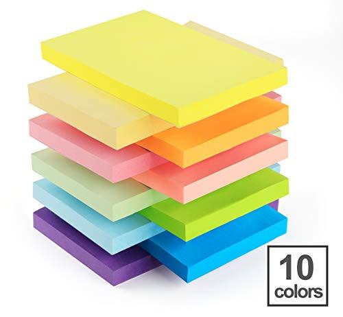 10 Stück Haftnotizen 76x127mm Sticky Notes,Agoer selbstklebende Haftnotizzettel Klebezettel bunt zettel farbig Notizblöcke für Büro Haus und zu Hause, 1000 Blatt insgesamt, 10 Farben