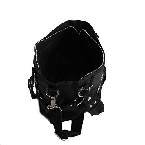 Jennifer Jones - modische sportliche Damen Handtasche Umhängetasche Shoppertasche - präsentiert von ZMOKA® in versch. Farben (Schwarz) Schwarz