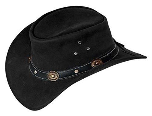 Scippis Rugged Earth Cuir Chapeau Chapeau de Cowboy Chapeau Western INCL. Bandes en liège et Cuir Pêche Ruban Noir, Noir