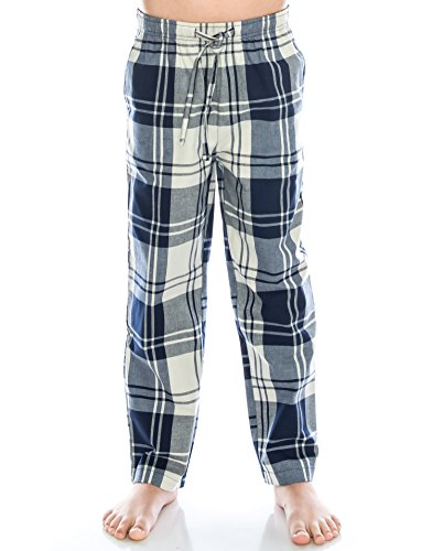 TINFL Jungen Plaid Check Soft 100% Baumwolle Flannell Pyjama Hose PB-01-Navy-YL