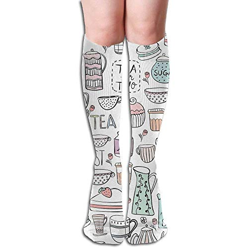 Hectwya Women Sexy High Knee Long Socks Cushion Outdoor Hiking Walking Stocking Breakfast Time Pattern Cups Over Calf Casual Sport Stocking Cotton White Breakfast Cup