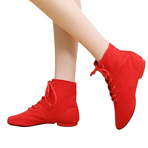 Leder Jazz Schuhe, Stiefel, weichen Sohlen, Jazz, Ballett Schuhe Schnürsenkel, Männer und Frauen Leinwand Körper, Aerobic Schuhe, vierzig, roten High canvas Schuhe
