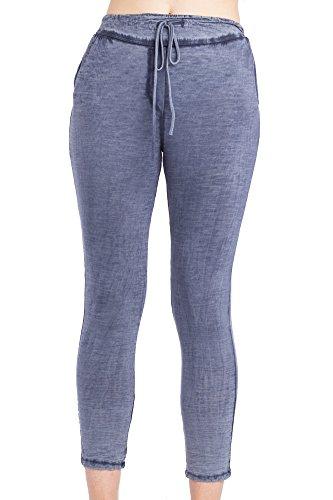 Abbino 6523 Damen Hosen - Made in Italy - 4 Farben - Frühjahr Sommer Herbst Damenhose Jogginghosen Baumwolle Unifarben Locker Sitzend Feminin Regular Sexy Freizeit Lässig Sale - One Size (36-38) Marine Blau