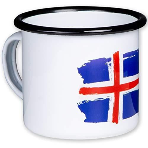 tassenWERKcom Island Emaille Tasse mit Flagge, leicht und bruchsicher, für Camping und Outdoor Fans - von MUGSY.de