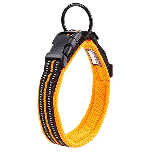 Einstellbare 3M reflektierende Hundehalsband Nylon Haustier Kragen gepolstert atmungsaktive Anti-Choke Anti-Reiben Mesh mit Ring (M Länge: 40-45cm, Orange)