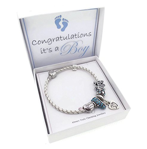 It's A Boy New Mum Leather Charm Bracelet Pandora Style Gift Boxed (21)