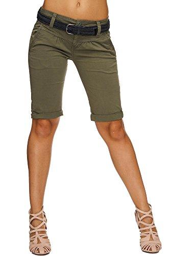 SUBLEVEL Damen Cuba Chino Shorts Bermuda kurze Hose inkl. Gürtel D6053Z600800JZ Middle Green M