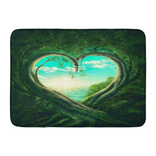 Rutschfeste Fußmatten Grüne Magie Zwei Bäume bilden Herz Wald Liebe Natur Fantasie Surreal Langlebige Teppiche 40x60 cm