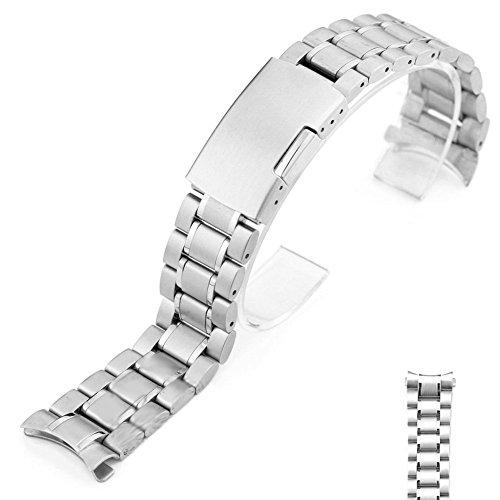 Time4Deals® 22mm in acciaio inox Bracciale orologio cinturino curvo fine solidi legami (Argento )