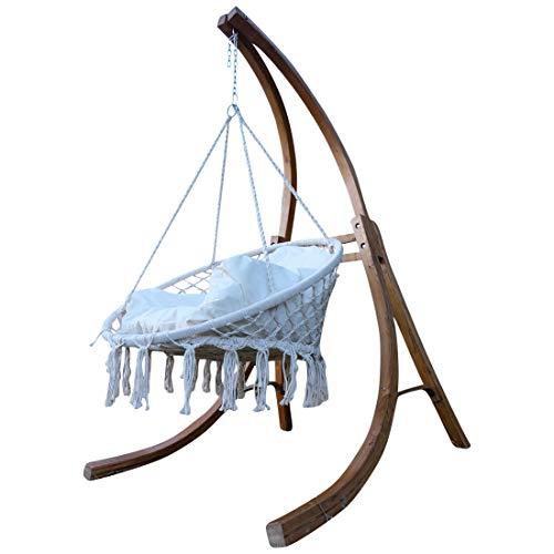 CONCEPTION Hamac Support Hamac Chaise en bois de mélèze Modèle: CATALINA avec grand fauteuil en tissu