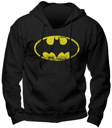 Batman - sudadera con capucha - logo del superhéroe de DC Comics - gran calidad - estampado frontal grande - negra - XL