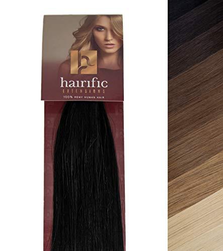 hairific Keratin Extensions Echthaar, Schwarz - 50cm, Bonding Haarverdichtung- und Verlängerung, 100% Remy Hair, Salon Qualität, 50 Strähnen