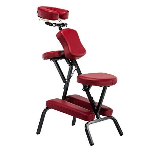Qucasyl Tragbare Massage-Stuhl Folding Leichtgewichtler Therapie Massage Spa Tattoo Verstellbarer Stuhl mit Tragetasche Kompakt, stark,Rot -