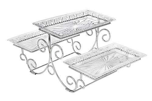 James Scott Kristall-Servierer, rechteckig, 3 Ebenen, in schöner Geschenkbox Tiered Server kristall -