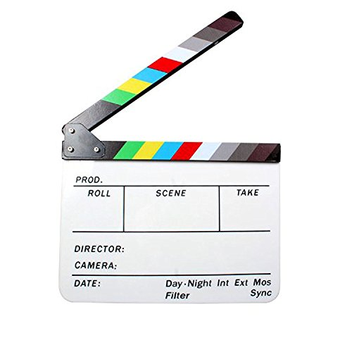Acrylic Plastic Clapboard Director's Clapper Board Dry Erase Cut Action Scene Slateboard For Hollywood Camera Film Studio Home Movie Video 24.5x29.8cm with Color Sticks by Sunsang