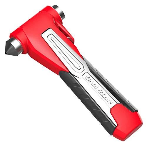 FENG 2 x Auto Notfall Hammer, Auto Sicherheitshammer mit Gurtschneider, Gurtmesser, Fahrzeugsicherheit Hammer, Notfallhammer für Auto, Bus,Red