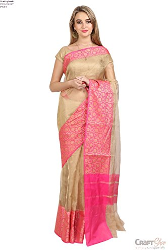 Craftghar Kota Saree Kota Tishu (Silk) Gold pink Border Saree with Blouse...