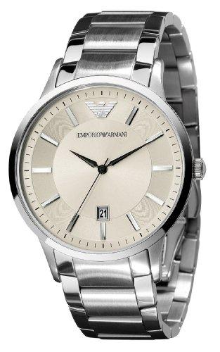 Emporio Armani Gents Round Case Cream Dial Stainless Steel Bracelet Watch