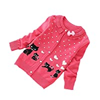 Nine Minow 5-12 Years Girls Cardigans Sweater Children Lovely Cat Cotton Sweaters (Red, 5-6 Years)