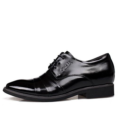 WZG première couche de chaussures habillées d'affaires ascenseur chaussures pour hommes en cuir Les nouveaux hommes chaussures en cuir des chaussures en cuir de l'Angleterre hommes ont augmenté Black