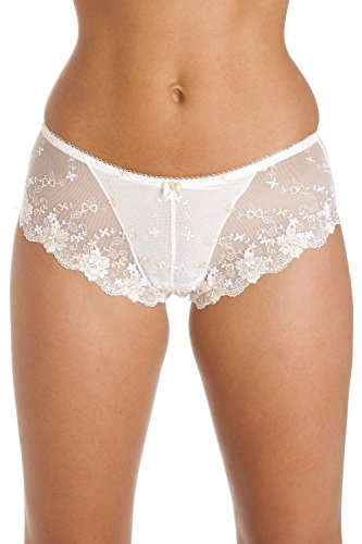 Camille Womens Ladies White and Gold Floral Boxer Shorts