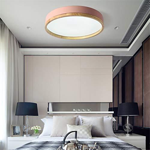 JINWELL Holz Deckenleuchte Weiß Runde Schlafzimmer Lampe Wohnzimmer Lampe Moderne Minimalistische Massivholz Schlafzimmer Deckenleuchte LED Runde Japanische Holz Lampe (Drei Farben Licht / 50 cm)