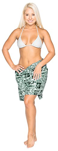 womens navigare ondulato gonna bikini costumi da bagno di cotone leggero coprire sarong Verde 7