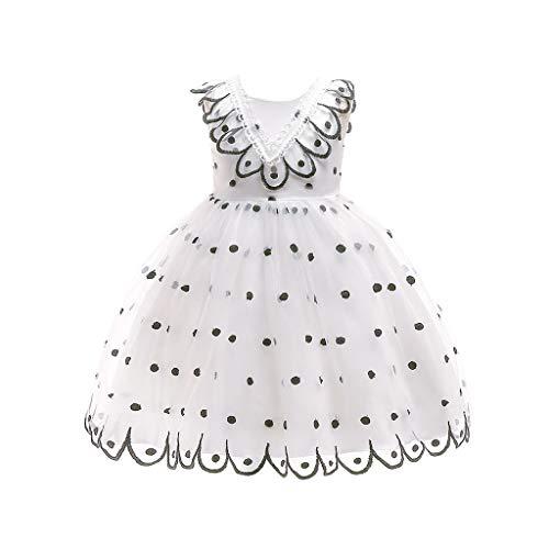 Beikoard Mädchen Baby Kleid Polka Dot Print Spitzenkleid Kinder Mädchen Prinzessin Kostüme Party Tutu Kleider Gestickte Pfau Prinzessin Kleid