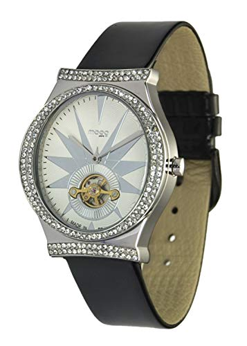 Moog Paris Open Hearth Saint Valentine Women's Watch with White Dial, Black Genuine Leather Strap & Swarovski Elements - M45242-101