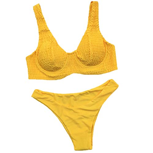 HOTstar Bikini Damen 2019 Bikini Zweiteiler Damen Badeanzug Liegestütze gefüllt BH Bademode Beachwear(Gelb,Medium)