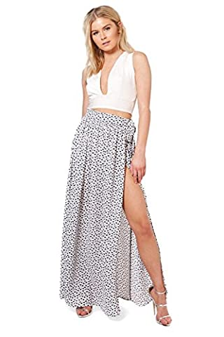 Womens Ivory Bali Woven Ditsy Floral Wrap Maxi Skirt - 12