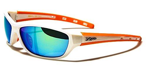 Xloop Gafas de Sol Deporte - Ciclismo - Mtb - Esquí - Running - Tenis - Moto - Moda / Mod. Cobalt Blanco Naranja