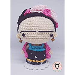 Amigurumi muñeca Frida Kahlo rosas, Frida Kahlo amigurumi, muñeca ganchillo, muñeca Frida