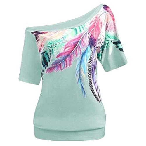 Damen Bluse Xiantime Damen Sommer Kurzarm Bluse Schulterfrei Locker T Shirt Lässige Oberteil Tops Bluse S-5XL