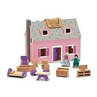 Melissa & Doug Fold & Go Mini Dollhouse (Portable Wooden Dollhouse, Working Doors, Sturdy Carrying Handles, 26.416 cm H × 30.226 cm W × 42.418 cm L)