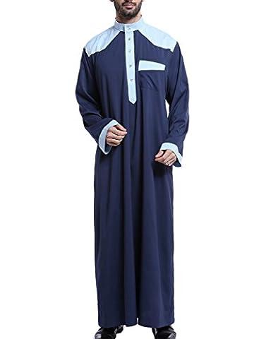 GladThink Männer Arab Muslim Thobe mit langen Ärmeln Mandarin Hals Marine XXXL