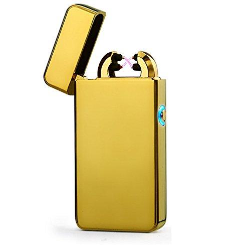 Aokvic USB elektronisches Feuerzeug aufladbar lichtbogen (Gold)