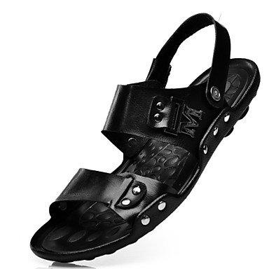 Herren Sandalen Frühling Sommer Herbst Komfort Rindsleder Outdoor Büro & Amp; Karriere Dress Casual schwarz Wasser Schuhe Black