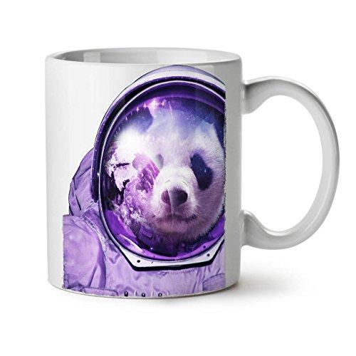 Reflexion Maske Kostüm - Wellcoda Astronaut Panda Bär Keramiktasse, Raumfliegen - 11 oz Tasse - Großer, Easy-Grip-Griff, Zwei-seitiger Druck, Ideal für Kaffee- und Teetrinker