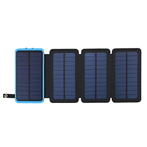 Solar Powerbank 10000mAh Faltbar Outdoor Solar Panel Ladegerät Dual USB Solar Batterie für Handy, iPhone, Samsung Galaxy ipad, Kamera ((Blau+3 Panel) )