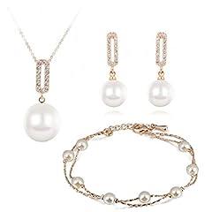 Idea Regalo - Cristallo Swarovski Perla simulata bianca Purare Collana con ciondolo 45 cm Orecchini pendenti Bracciale 18 kt placcato oro per donne