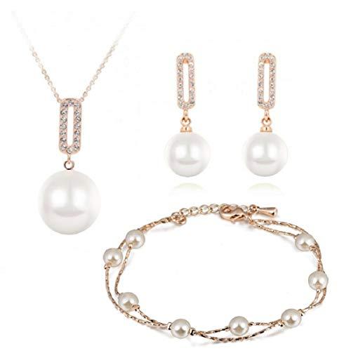 Swarovski Kristallen Weiße simulierte Perlen Schmuck-Set Halskette Anhänger 45 cm Ohrhänger Ohrringe Armband 18 kt Vergoldet für Damen (Perlen-schmuck-set)