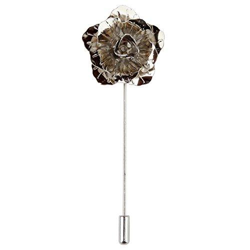 Spille da Giacca Uomo Rosa di Metallo in Confezione Regalo (Argento)