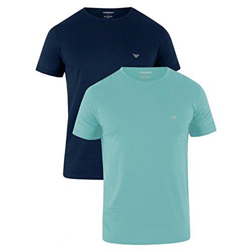 Emporio Armani 2er-Pack Reiner Baumwolle Adler Logo Herren T-shirts, Hell/dunkel Blau Kleine (Adler-logo-shirt)