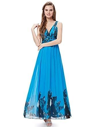 HE09641BL06, Blue, 6UK, Ever Pretty Chiffon Evening Dresses For Women 09641