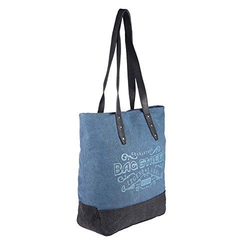 OBC Stella Borsetta Borsa donna Tela Cotone CrossOver Borsa a tracolla sportivo borsa a tracolla Borsa con manici Shopper - Beige 42x38x13 cm, 42x38x13 cm ( BxHxT ) BLU 42x38x13 cm